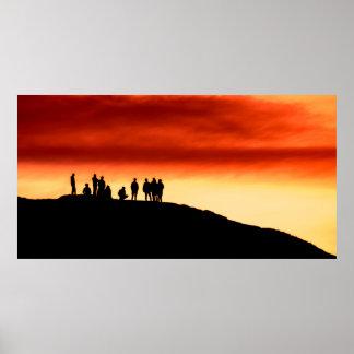 Aufpassen des Sonnenuntergang-Plakats/des Druckes Poster