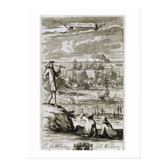 Aufpassen einer Seeschlacht durch ein Teleskop, Postkarte