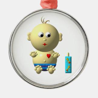 AUFPRALLEN DES BABYS MIT 1 FLASCHE SILBERNES ORNAMENT