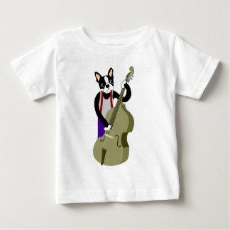 Aufrechter Bass-Spieler Bostons Terrier Baby T-shirt
