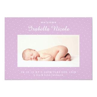 Aufregungs-lila Geburts-Mitteilung 12,7 X 17,8 Cm Einladungskarte