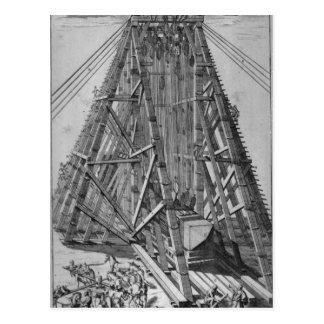 Aufrichten des alten ägyptischen Obelisk Postkarte