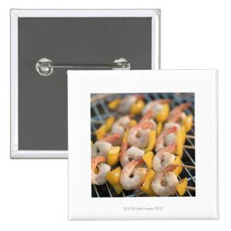 Aufsteckspindel mit gegrillten Garnelen und Quadratischer Button 5,1 Cm