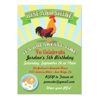 Aufstiegs-und Shine-Frühstücks-Geburtstags-Party 12,7 X 17,8 Cm Einladungskarte