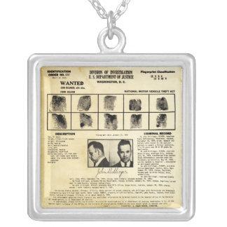 Auftrag DOJs Identifcation John Dillinger 1217 Halskette Mit Quadratischem Anhänger