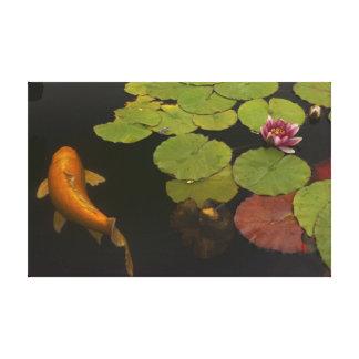 Auftrag Koi und Blume Leinwanddruck