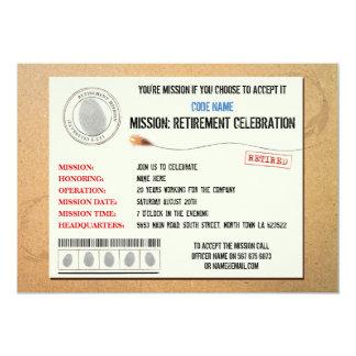 Auftrag-Ruhestands-Party-geheime Agent-Einladung 12,7 X 17,8 Cm Einladungskarte