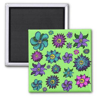 Augapfel-Blumen-Magnet Quadratischer Magnet
