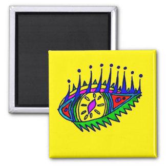 Auge, das Magneten zeichnet Quadratischer Magnet