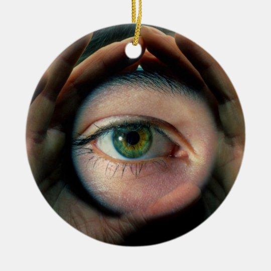 Auge im Herz, Rundes Keramik Ornament
