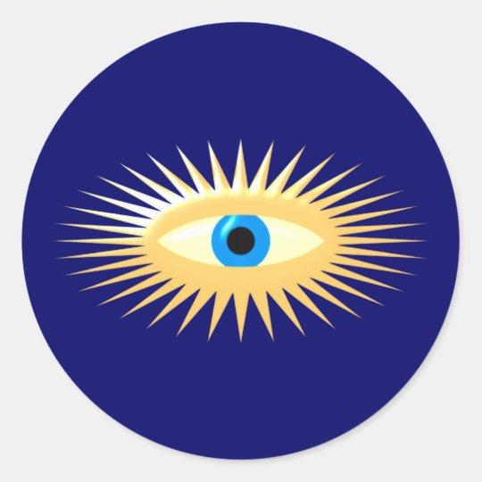 Auge Stern Strahlen eye star rays Runder Aufkleber