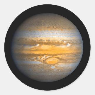 Auge von Jupiter-Planeten vom Weltraum Runder Aufkleber