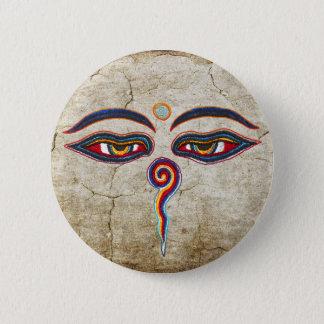Augen von Buddha/Augen der Weisheit Runder Button 5,7 Cm