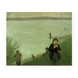 August_Macke - Angler auf Rhein - Fisher-Fluss Postkarte