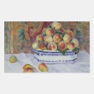 Auguste Renoir - Stillleben mit Pfirsichen Rechteckiger Aufkleber