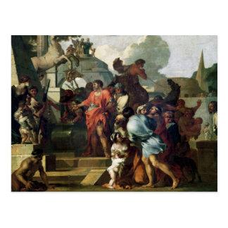 Augustus vor dem Grab von Alexander III Postkarte