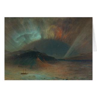 Aurora Borealis durch Kirche 1865 Frederic Edwin Karte