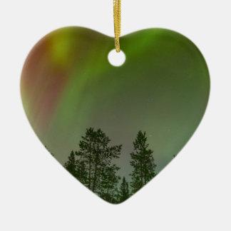 Aurora Borealis Nordlicht-Himmel-Glühen-Schein Keramik Herz-Ornament