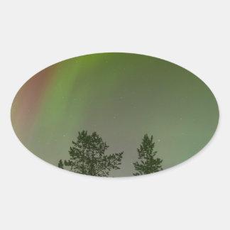 Aurora Borealis Nordlicht-Himmel-Glühen-Schein Ovaler Aufkleber