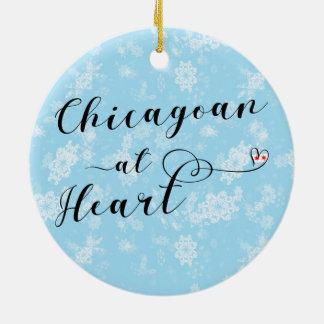 Aus Chicago an der Herz-Feiertags-Dekoration, Keramik Ornament