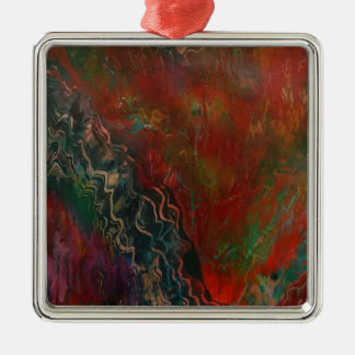 Ausbrechen der vulkanischen Landschaft Quadratisches Silberfarbenes Ornament