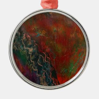 Ausbrechen der vulkanischen Landschaft Rundes Silberfarbenes Ornament