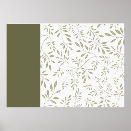 Ausdrucksvolles Blätter-Hochzeitsgeschenk des oliv Plakate