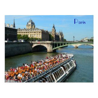 Ausflug-Boot auf der Seine in Paris Postkarte
