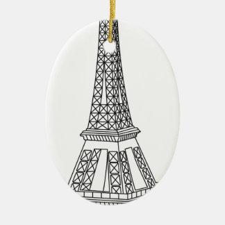 Ausflug Eiffel Ovales Keramik Ornament