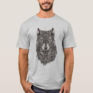 Ausführliche abstrakte Wolf-Kopf-Illustration T-Shirt