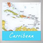 Ausführliche Karte der Karibischen Meere Poster