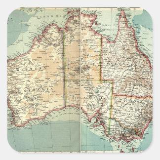 Ausführliche Karte des antiken Vintagen Quadratischer Aufkleber