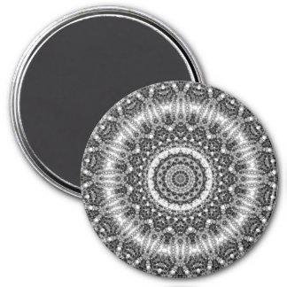 Ausführliches Schwarzweiss-Mandala-Kaleidoskop Runder Magnet 7,6 Cm