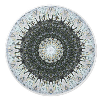 Ausführliches Silber und grüne Mandala Keramikknauf