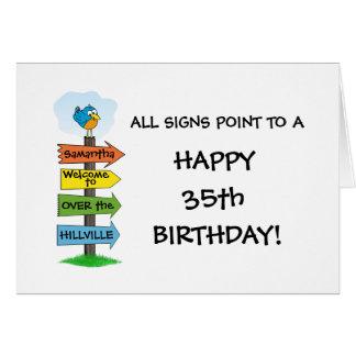 Ausfüllungs die Zeichen-Spaß-35. Geburtstags-Karte Karte