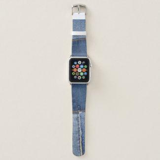 Ausgebesserter Denim-Druck Apple Watch Armband