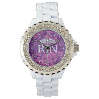 Ausgebildete Krankenschwester RN silberner Armbanduhr