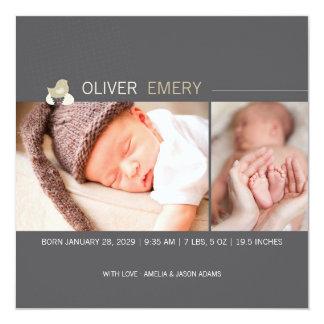 Ausgebrütete Ei-Baby-Küken-Foto-Geburts-Mitteilung Quadratische 13,3 Cm Einladungskarte