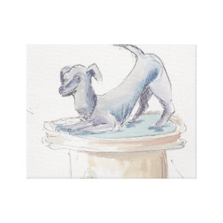 "Ausgedehnte Leinwand ""Watercolor-Skizze/Hund"