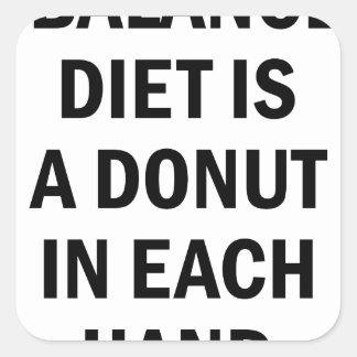 Ausgewogene Diät Quadratischer Aufkleber