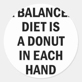 Ausgewogene Diät Runder Aufkleber
