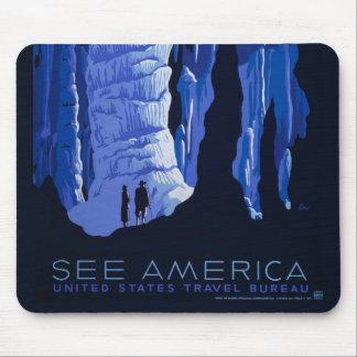 Aushöhlen Reise-Höhlen-des Vintagen Reise-Plakats Mauspads