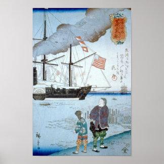 Ausländer-Schiff, Hiroshige Japaner-schöne Kunst Poster