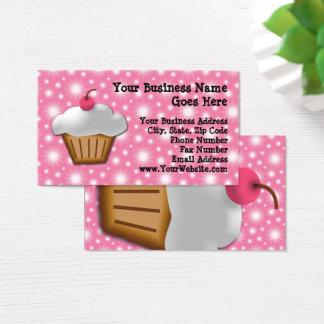 Ausschnitt-kleiner Kuchen mit rosa Kirschbäckerei Visitenkarte