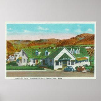 Außenansicht der grünen Hütte Caf� Plakatdruck
