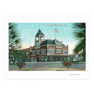 Außenansicht der Stadt HallHealdsburg, CA Postkarte