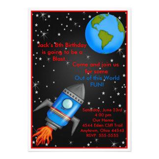 Äußere Weltraumrakete-Schiffs-Geburtstags-Einladun Ankündigung