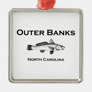 Äußeres Bank-North Carolina-Brandungs-Fischen Quadratisches Silberfarbenes Ornament
