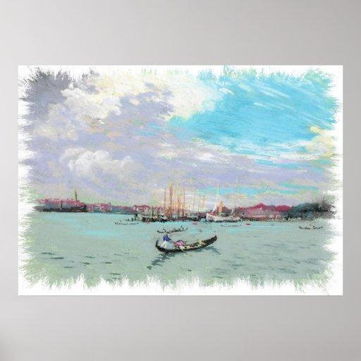 Außerhalb VenedigVintagen Pastellzeichnens Posterdrucke