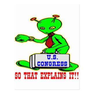 Außerirdische im Kongreß, damit es erklärt Postkarte